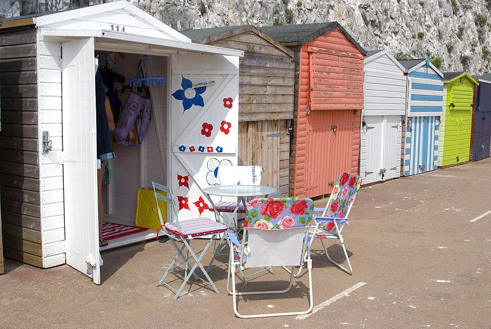Beach huts, Stone Bay, Broadstairs, Kent, England, United Kingdom, Europe