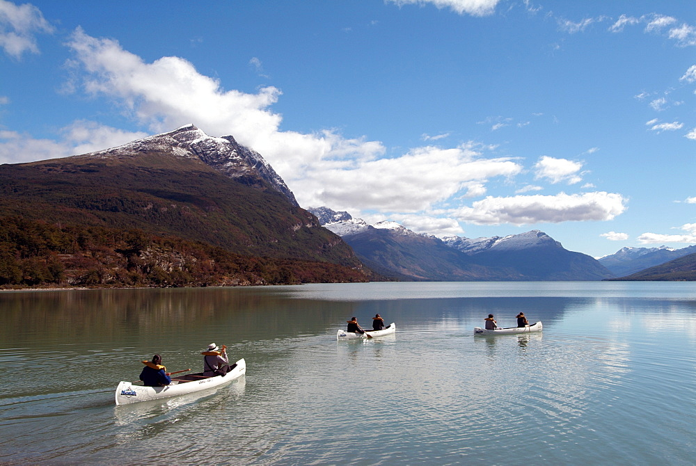 Canoeing at Tierra del Fuego National Park, near Ushuaia, Argentina, South America