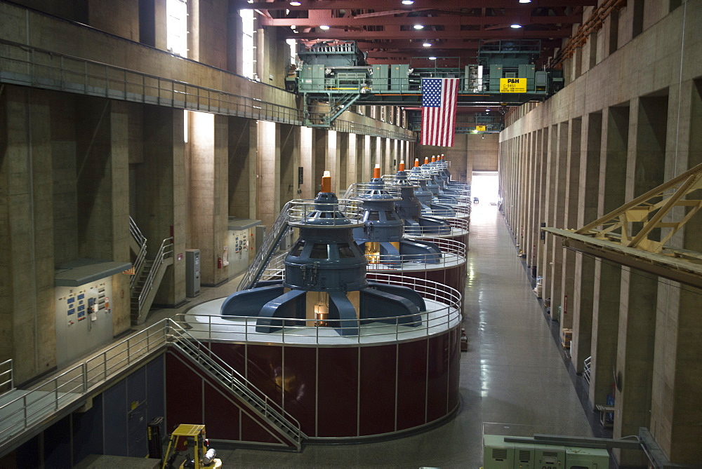 Electricity turbines, Hoover Dam, Arizona, United States of America, North America