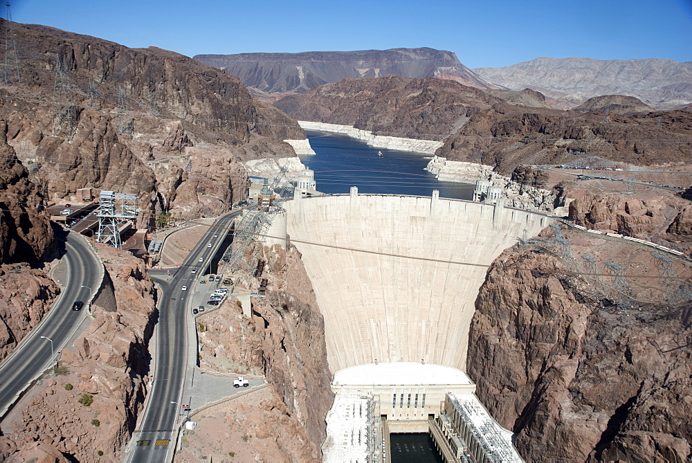 View of Hoover Dam from the new Mike O'Callaghan-Pat Tillman Memorial Bridge, Arizona, United States of America, North America