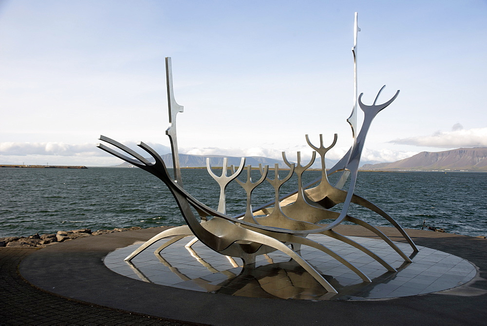 Sculpture of the Sun Voyager, the harbour, Reykjavik, Iceland, Polar Regions