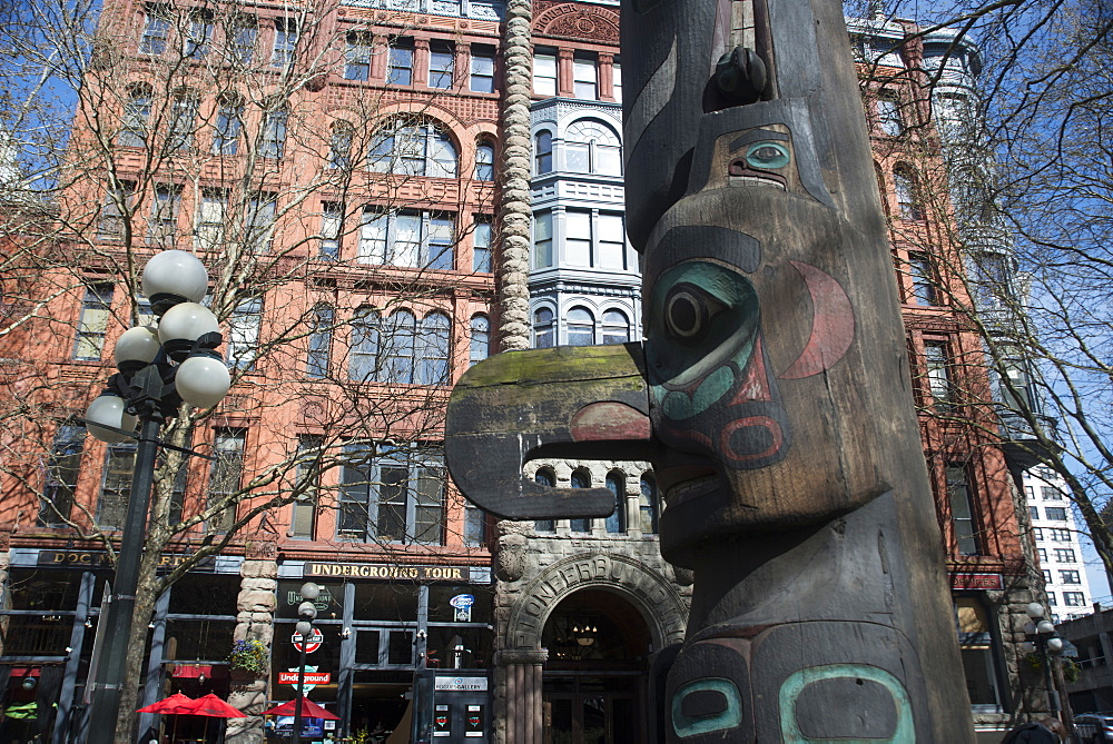 Pioneer Square, the historic original settlement of the city, with Totem Pole, Seattle, Washington, United States of America