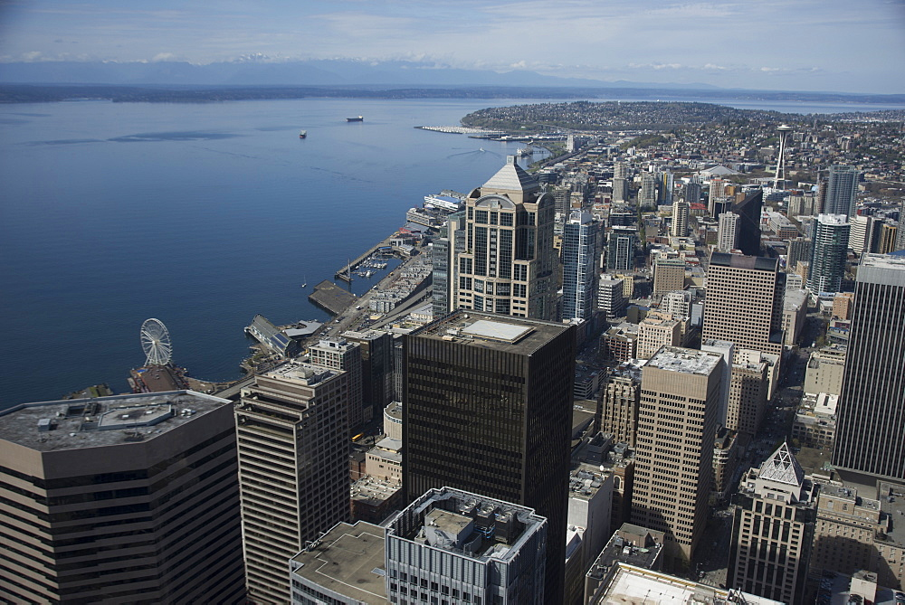 Aerial view of Seattle with the Port and the Space Needle from the Skyview Observatory, Washington, United States of America
