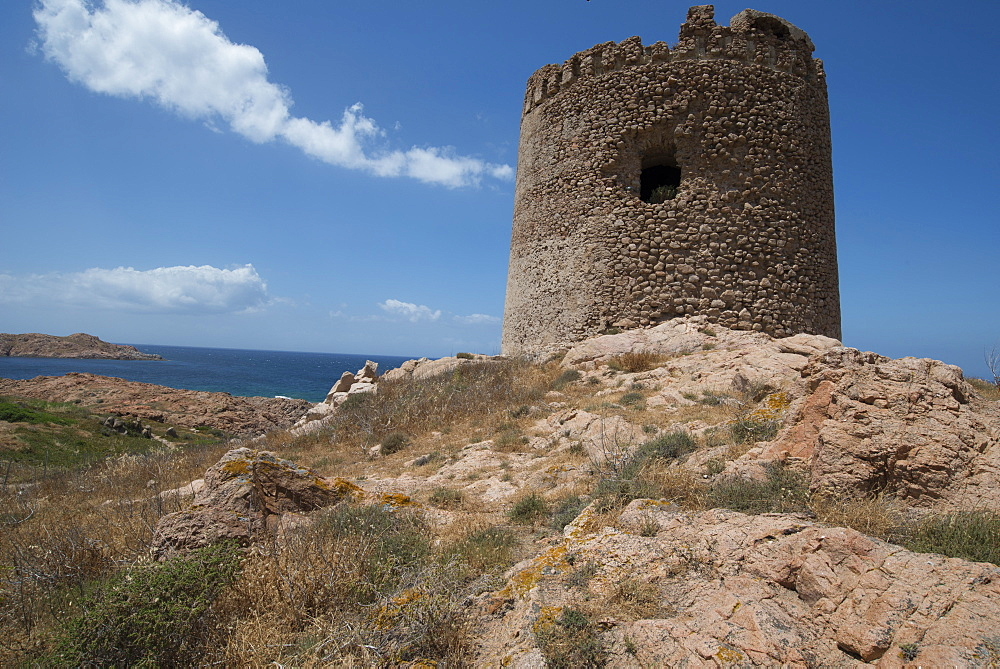 The Torre Aragonese, a Spanish tower dating from the year AD500, Isola Rossa, Sardinia, Italy, Mediterranean, Europe
