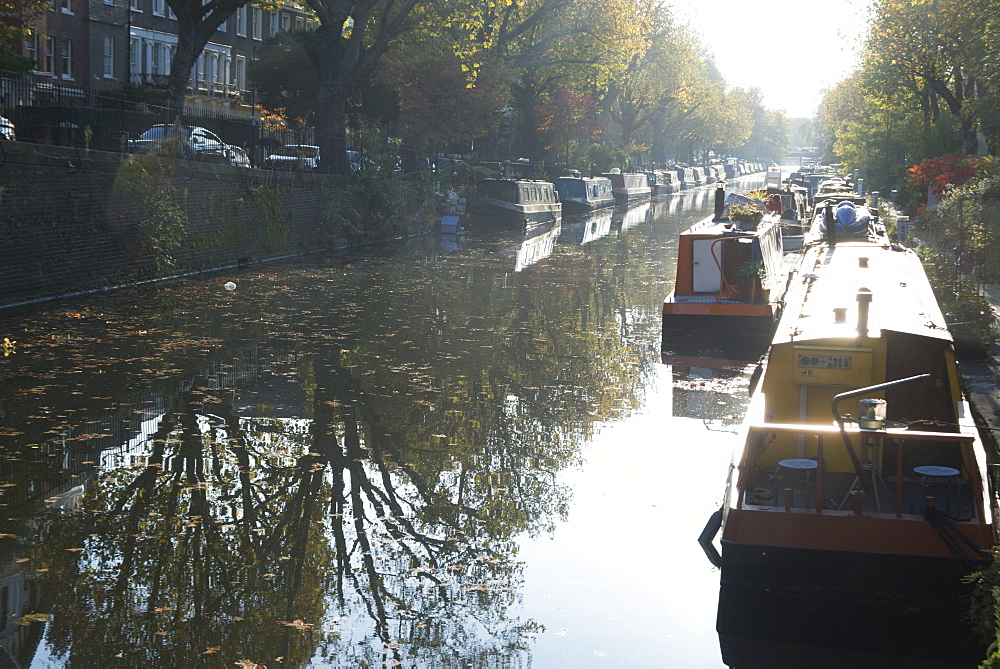 Canal boats on the Regent's Canal, Little Venice, London, England, United Kingdom, Europe - 685-2634