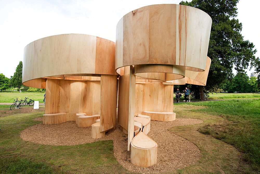 One of the 2016 Serpentine Summer Houses, by Barkow Leibinger, Serpentine Gallery, Hyde Park, London W2, England, United Kingdom, Europe