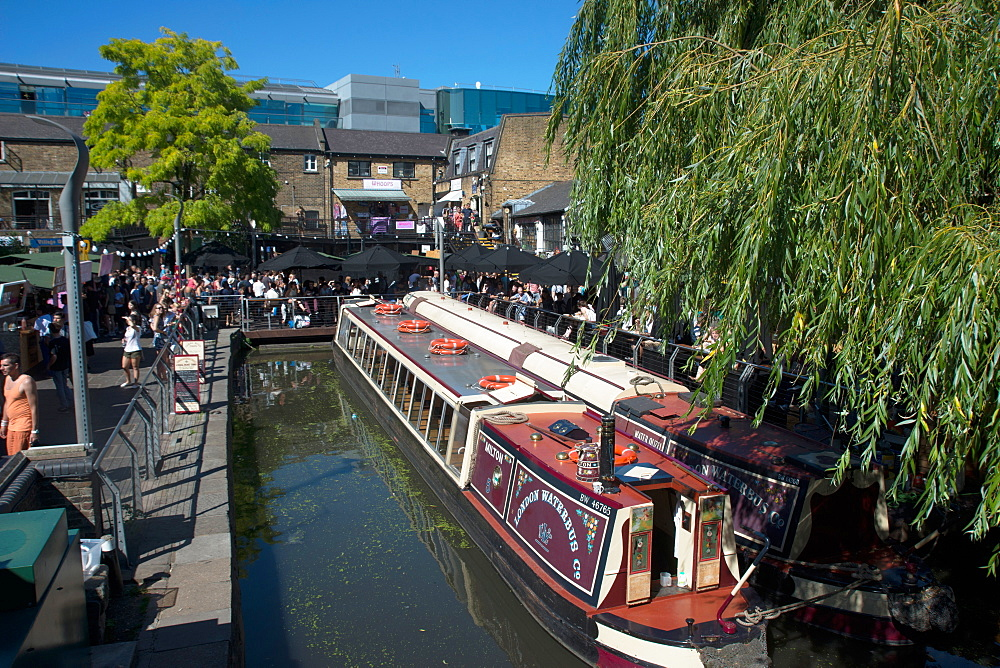 The waterbus at Camden Lock, London, NW1, England, United Kingdom, Europe - 685-2665