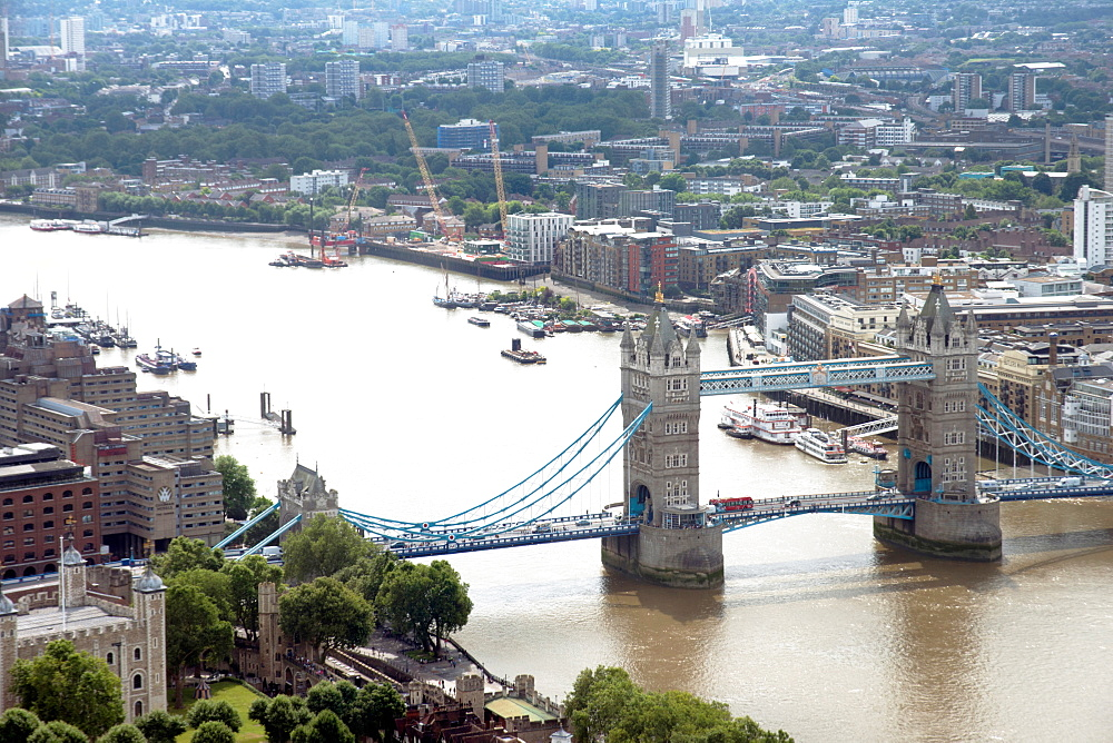 View over Tower Bridge from the Sky Garden, London, EC3, England, United Kingdom, Europe - 685-2667