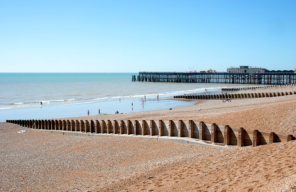 The beach and pier at Hastings, East Sussex, England, United Kingdom, Europe - 685-2669