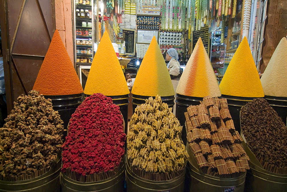 Spice market, Mellah, Marrakech, Morocco, North Africa, Africa