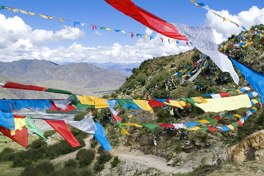 Prayer flags, Ganden Monastery, near Lhasa, Tibet, China, Asia
