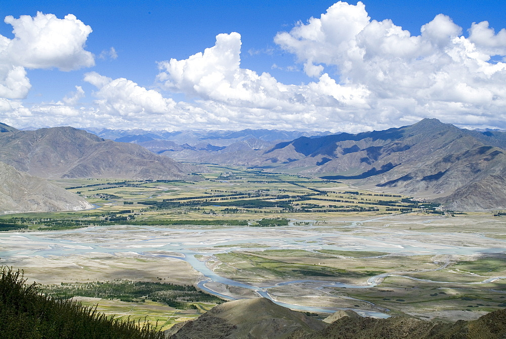 View of Tibetan plateau, from Ganden Monastery, near Lhasa, Tibet, China, Asia