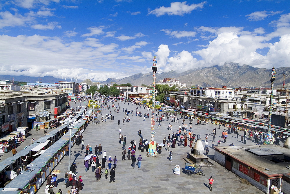 Jokhang Square from Jokhang Temple, the most revered religious structure in Tibet, Lhasa, Tibet, China, Asia