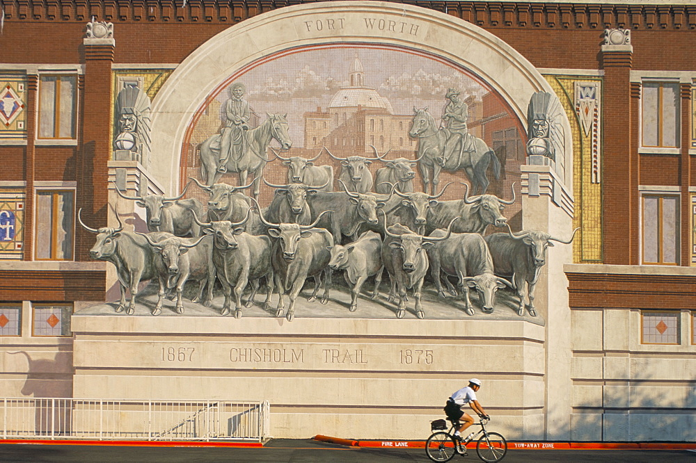 Murals downtown of cattle drive, Fort Worth, Texas, United States of America, North America