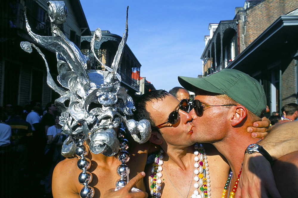 Gays kissing in Bourbon Street, Mardi Gras, New Orleans, Louisiana, United States of America, North America