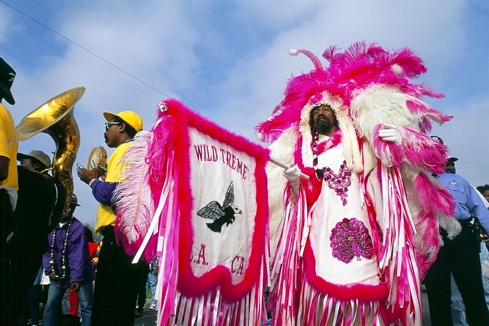 African American in Native American costume, Mardi Gras, New Orleans, Louisiana, United States of America, North America