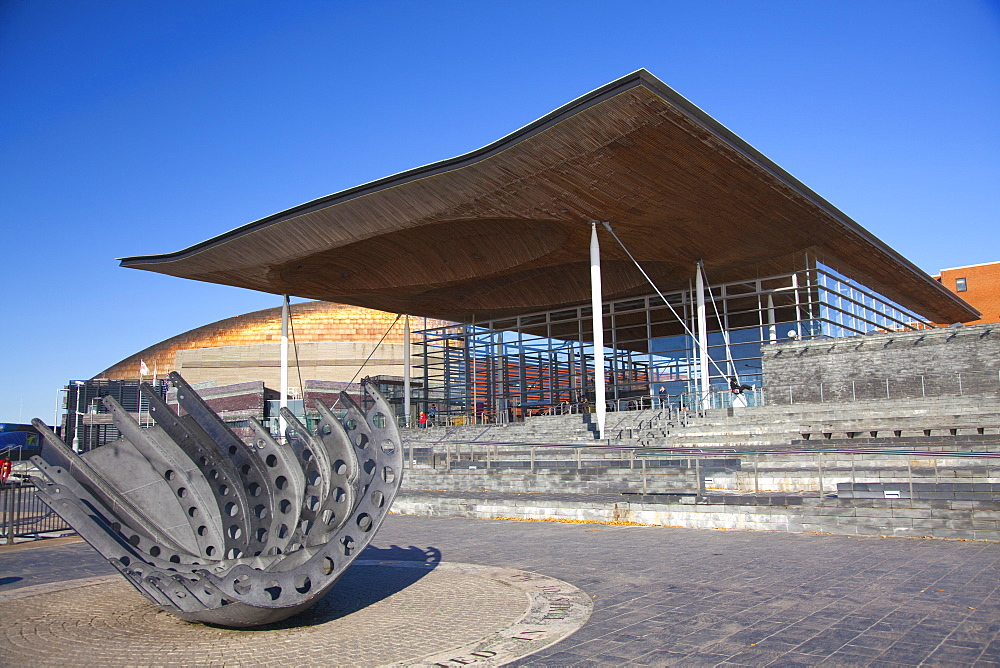 The Senedd (Welsh National Assembly Building), Cardiff Bay, Cardiff, South Wales, Wales, United Kingdom, Europe