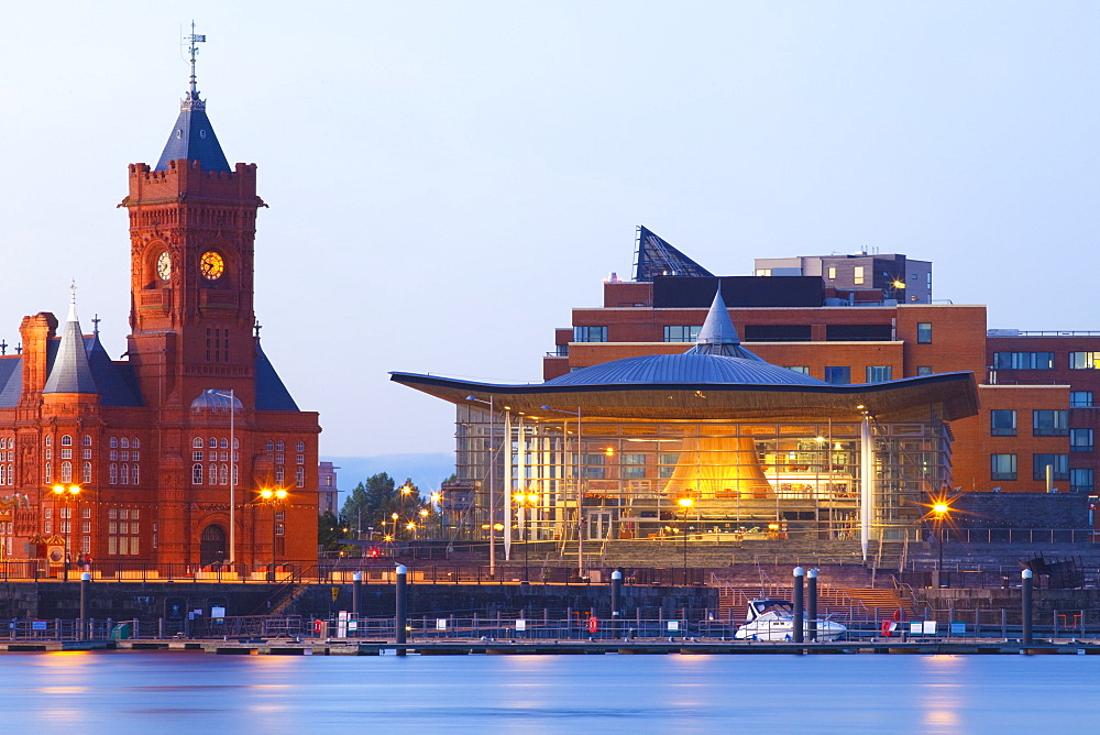 The Senedd (Welsh National Assembly Building) and Pier Head Building, Cardiff Bay, Cardiff, South Wales, Wales, United Kingdom, Europe
