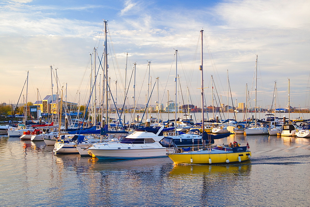 Penarth Marina, with Cardiff Bay in the distance, Wales, United Kingdom, Europe