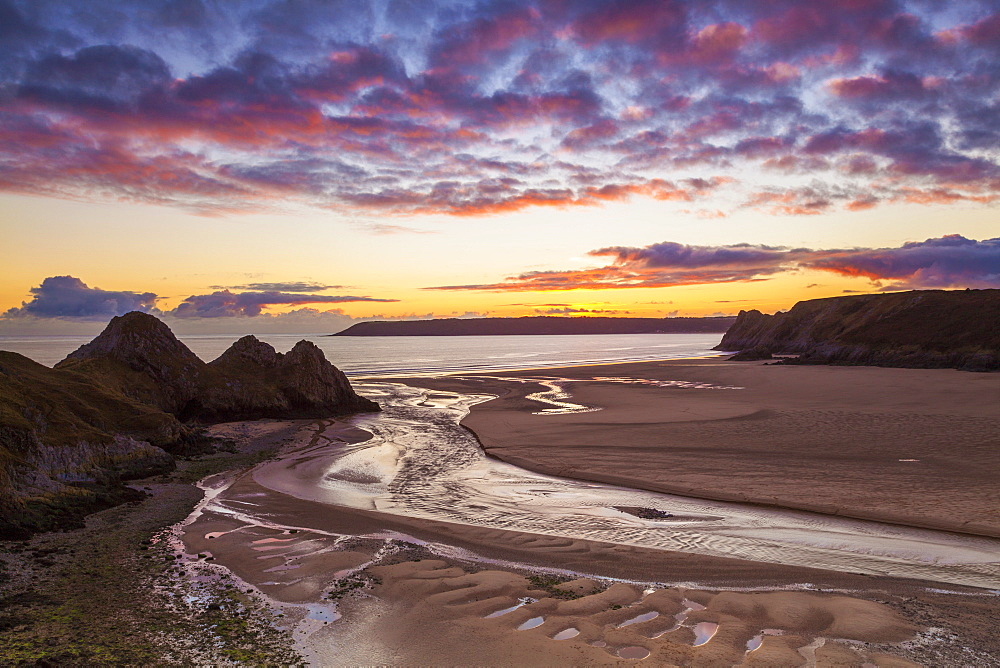 Stock photo of Three Cliffs Bay, Gower, Wales