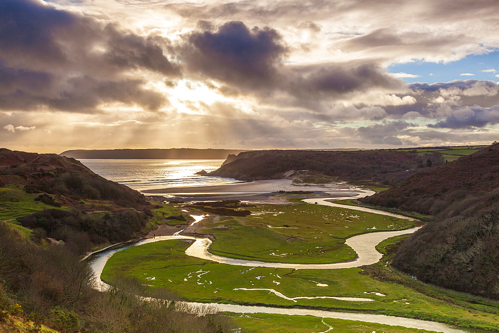 Pennard Pill, overlooking Three Cliffs Bay, Gower, Wales, United Kingdom, Europe