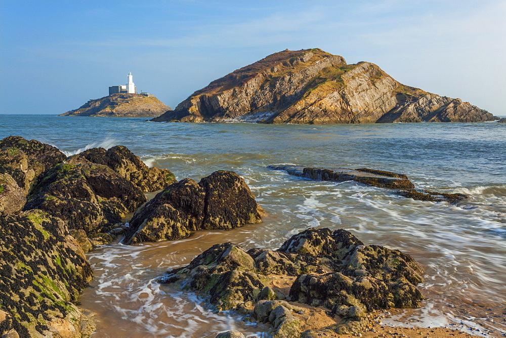 Mumbles Lighthouse, Bracelet Bay, Gower, Swansea, Wales, United Kingdom, Europe