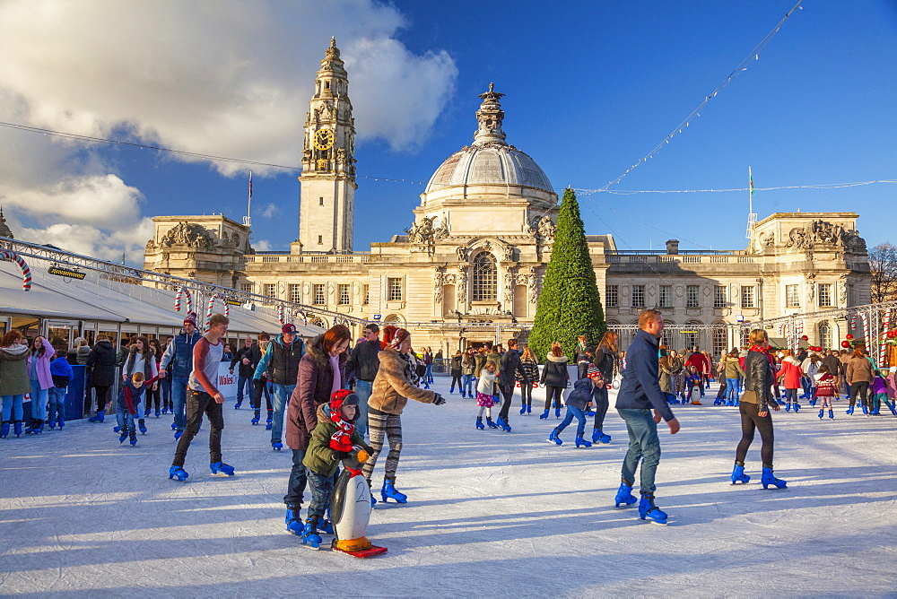 Winter Wonderland, City Hall, Cardiff, Wales, United Kingdom, Europe