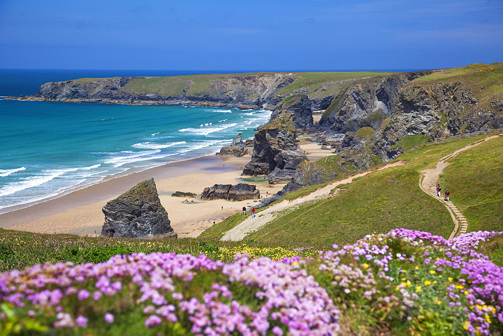 Bedruthan Steps, Newquay, Cornwall, England, United Kingdom, Europe - 696-777