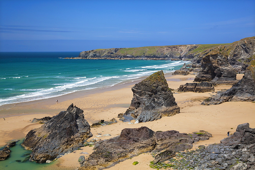 Bedruthan Steps, Newquay, Cornwall, England, United Kingdom, Europe - 696-778