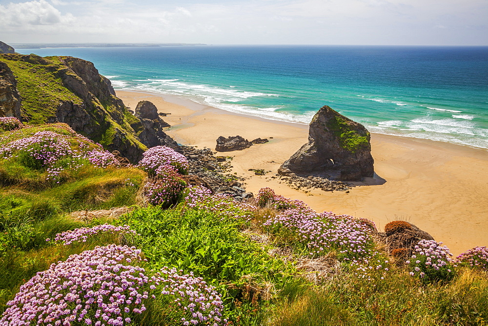 Bedruthan Steps, Newquay, Cornwall, England, United Kingdom, Europe - 696-779