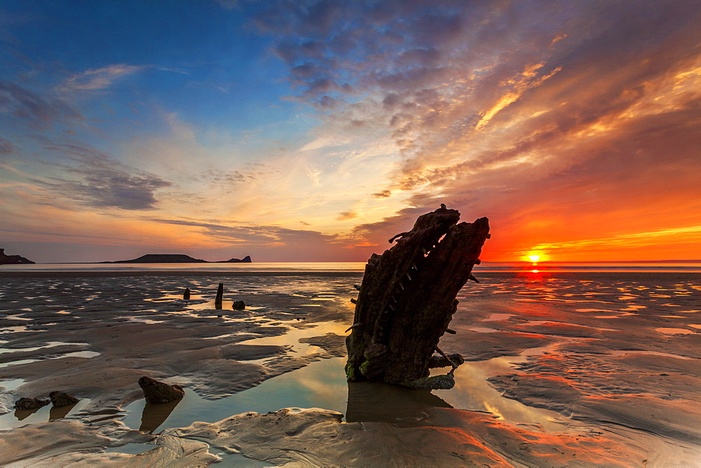 Wreck of the Helvetia, Worms Head, Rhossili Bay, Gower, Wales, United Kingdom, Europe