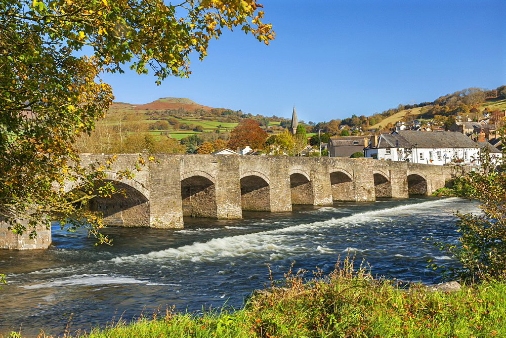 Bridge over River Usk, Crickhowell, Powys, Brecon, Wales, United Kingdom, Europe - 696-866
