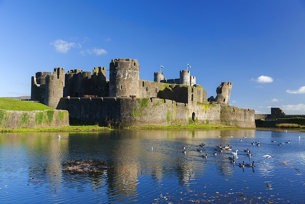 Caerphilly Castle, Cardiff, Wales, United Kingdom, Europe - 696-885