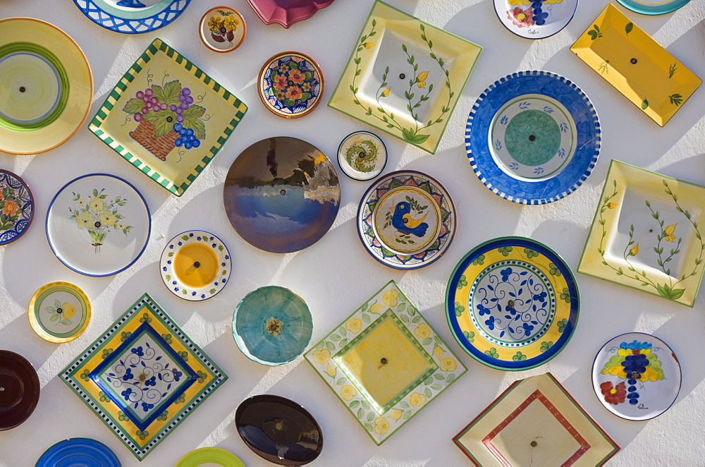 Traditional Portuguese pottery at artisan workshop with plates on wall, Cape St. Vincent peninsula, Sagres, Algarve, Portugal, Europe
