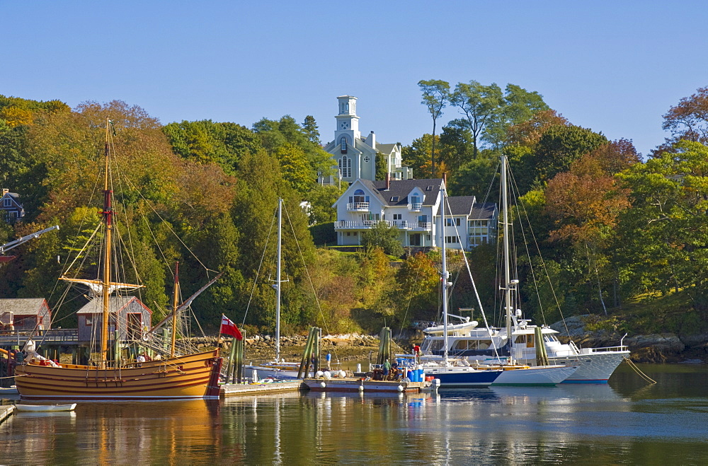 Yachts moored in Rockport harbour, Maine, United States of America, North America