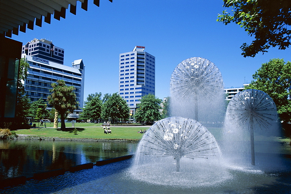 Town Hall fountain, Christchurch, Canterbury, South Island, New Zealand, Pacific