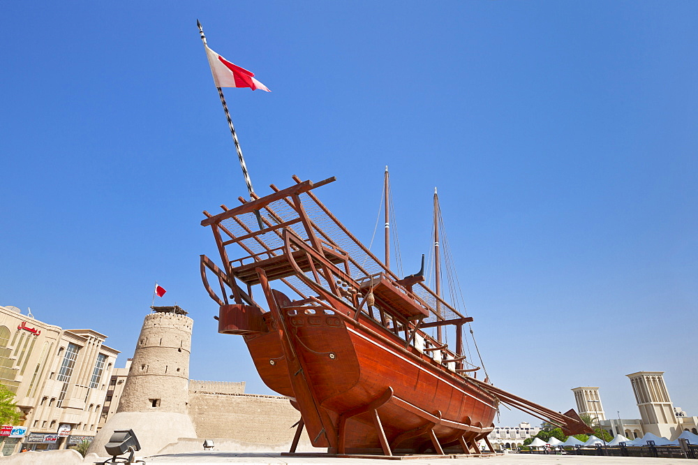 Traditional dhow, Dubai Museum, Al Fahidi Fort, Bur Dubai, United Arab Emirates, Middle East