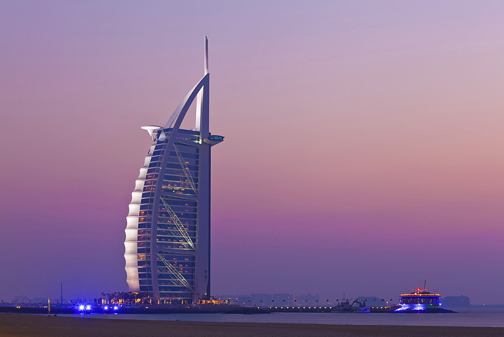 Burj al Arab hotel at sunset, Dubai, United Arab Emirates, Middle East