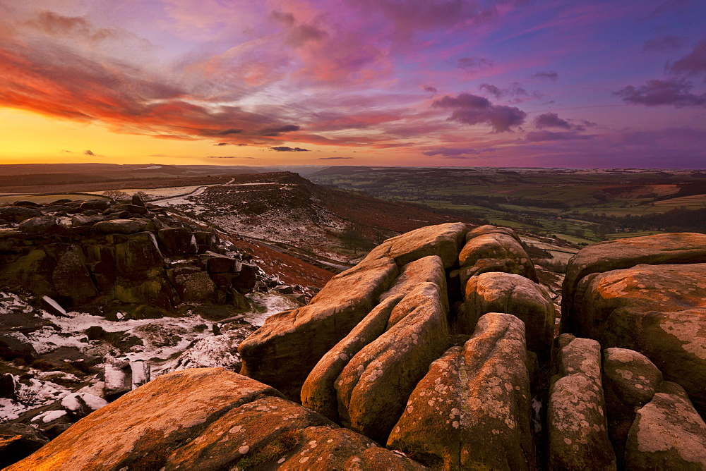 Frosty winter sunrise, Froggatt and Curbar Edge, Peak District National Park, Derbyshire, England, United Kingdom, Europe