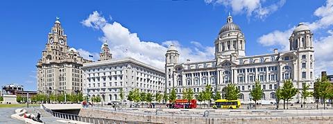 Pierhead Three Graces buildings, Liverpool Waterfront, UNESCO World Heritage Site, Liverpool, Merseyside, England, United Kingdom, Europe