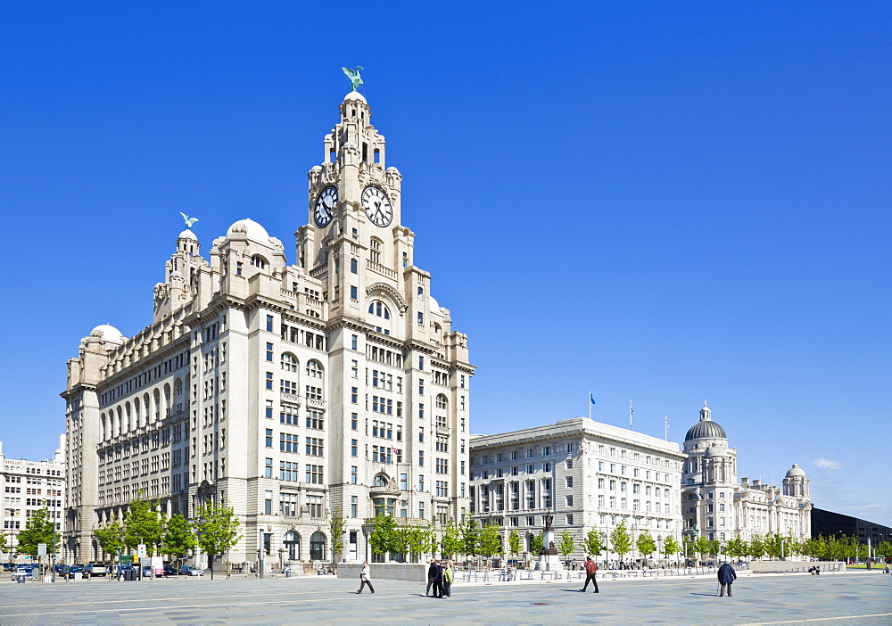 Three Graces buildings, Pierhead, Liverpool waterfront, UNESCO World Heritage Site, Liverpool, Merseyside, England, United Kingdom, Europe