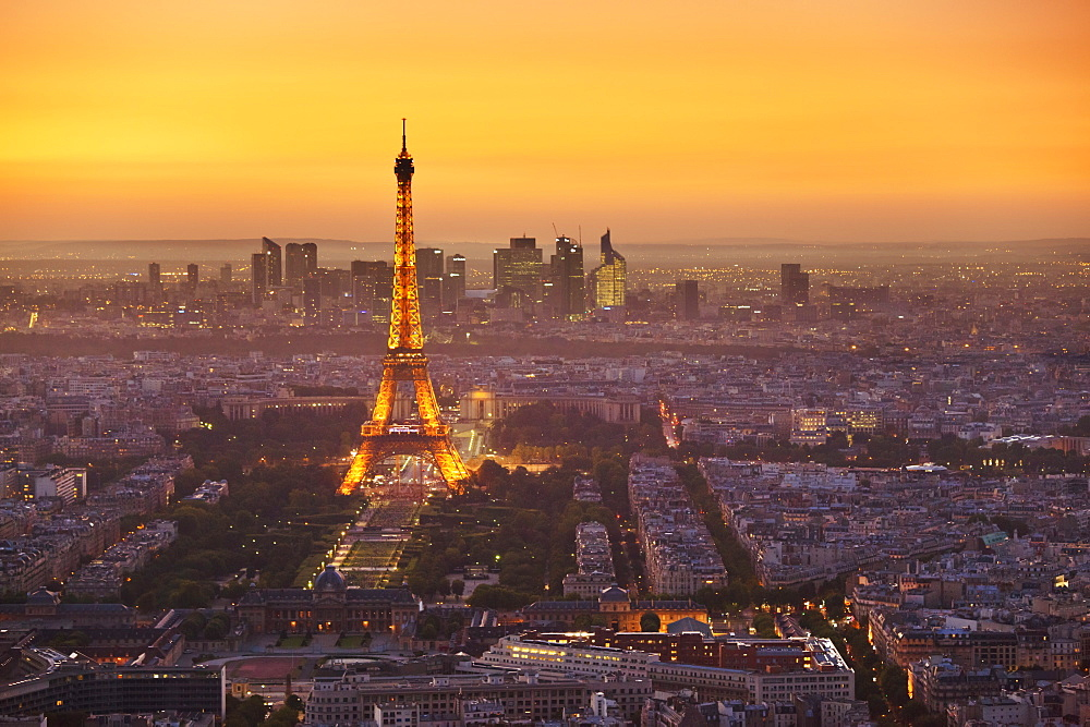 Stock photo of Paris skyline at sunset