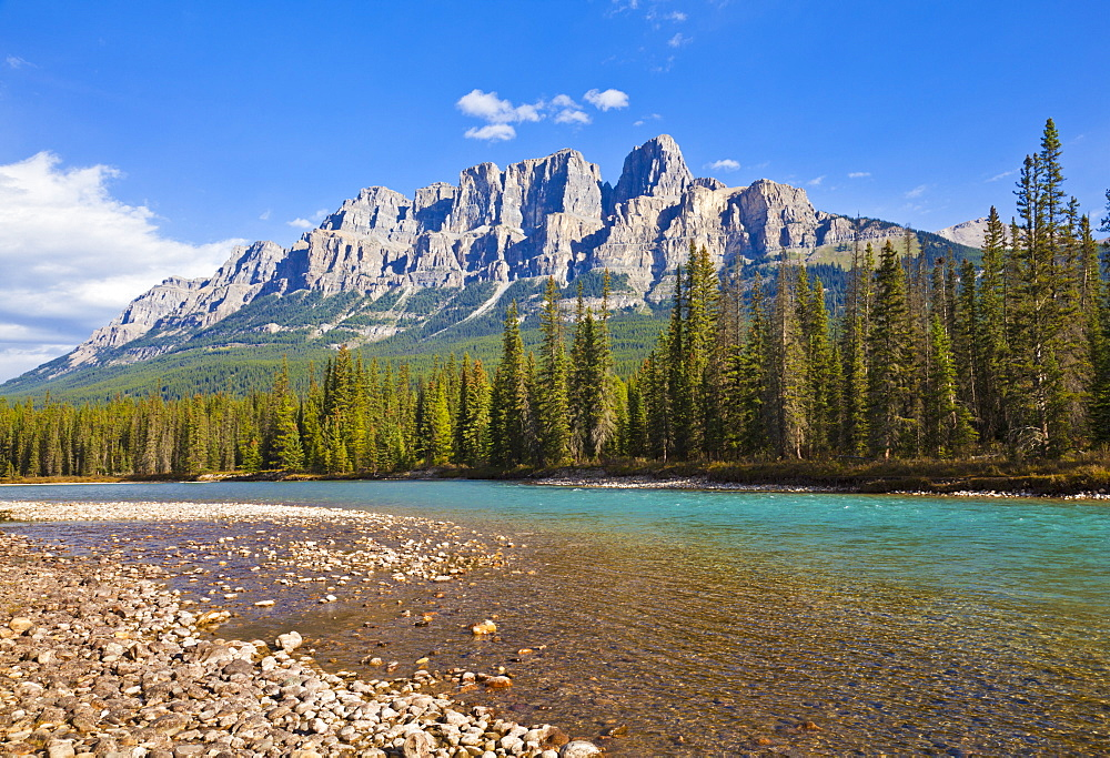 Castle Mountain behind the Bow river at Castle Junction, Bow Valley Parkway, Banff National Park, UNESCO World Heritage Site, Alberta, Canadian Rockies, Canada, North America