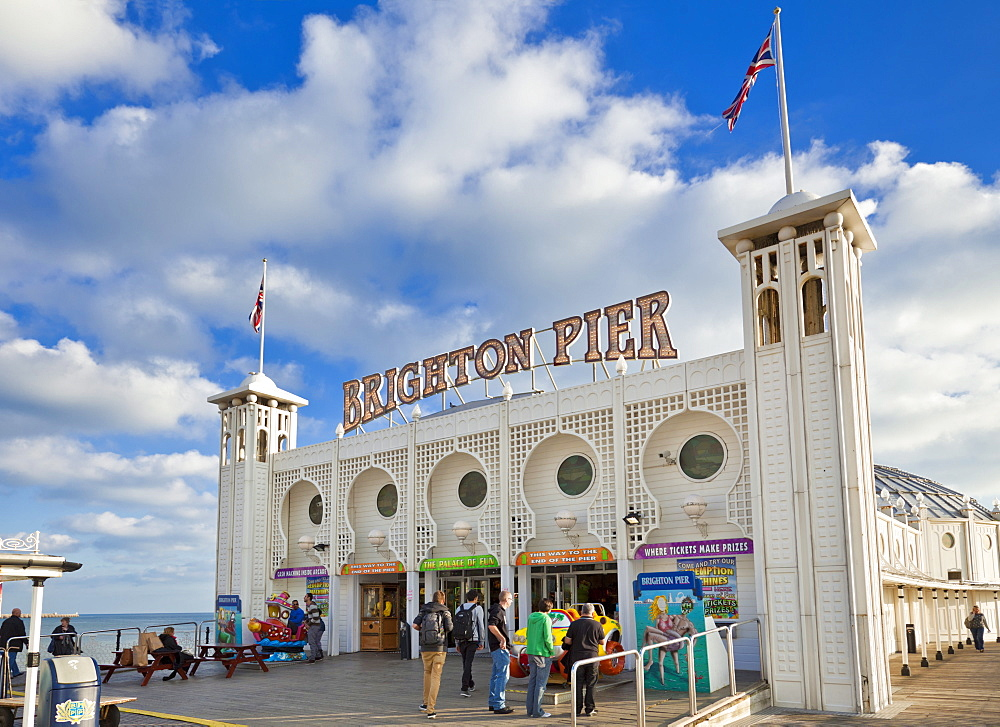 Entrance to Brighton Pier, Brighton, East Sussex, England, United Kingdom, Europe