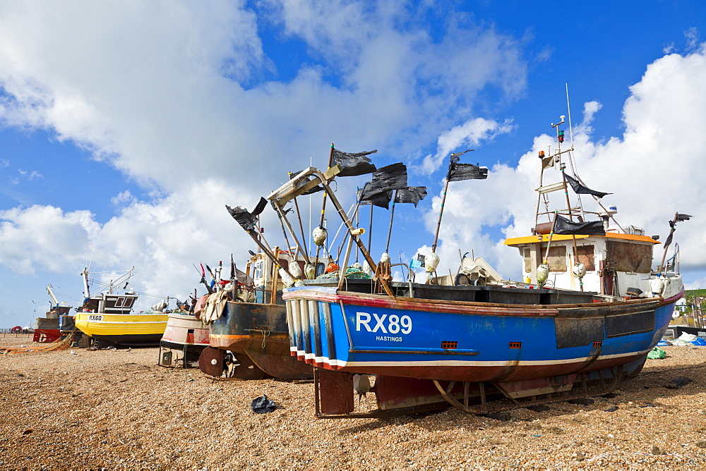 Fishing boats pulled up on the beach at Hastings, East Sussex, England, United Kingdom, Europe
