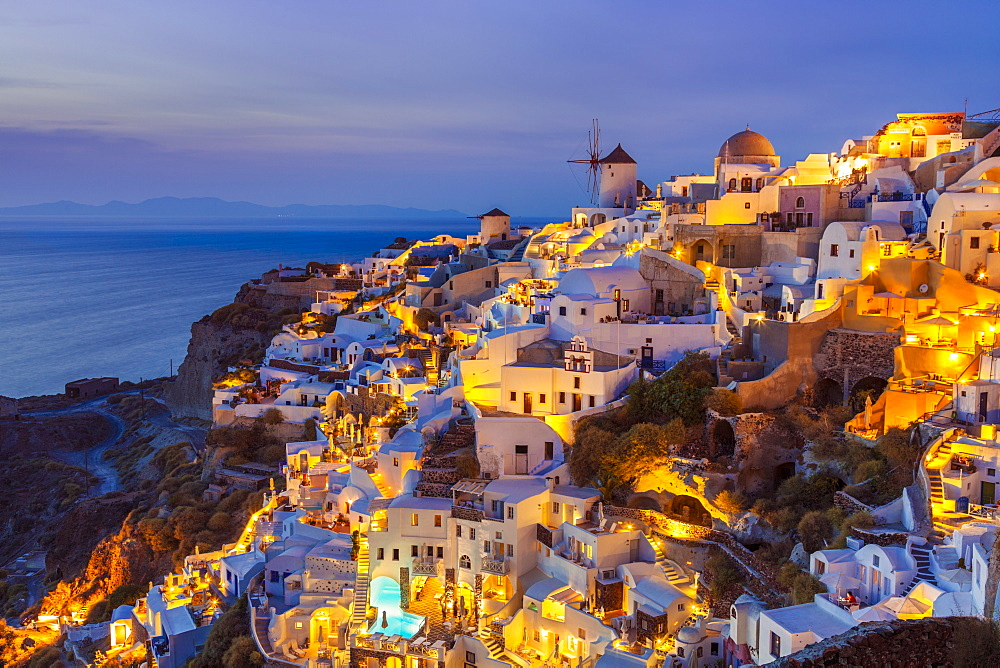 Windmill and traditional houses after sunset, Oia, Santorini (Thira), Cyclades Islands, Greek Islands, Greece, Europe - 698-3077