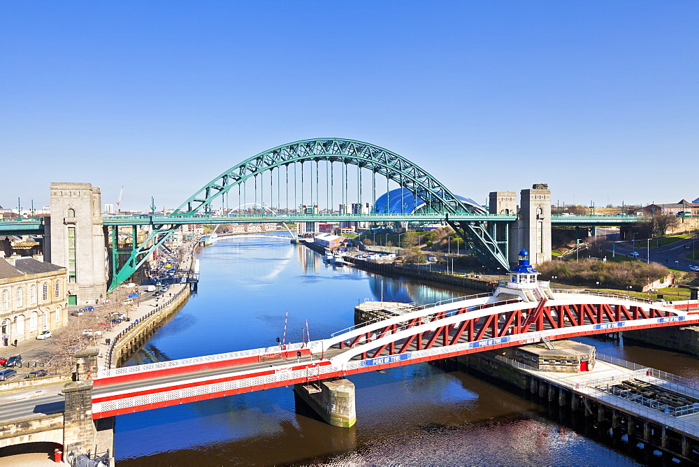 Newcastle upon Tyne city with Tyne Bridge and Swing Bridge over River Tyne, Gateshead, Tyne and Wear, England, United Kingdom, Europe