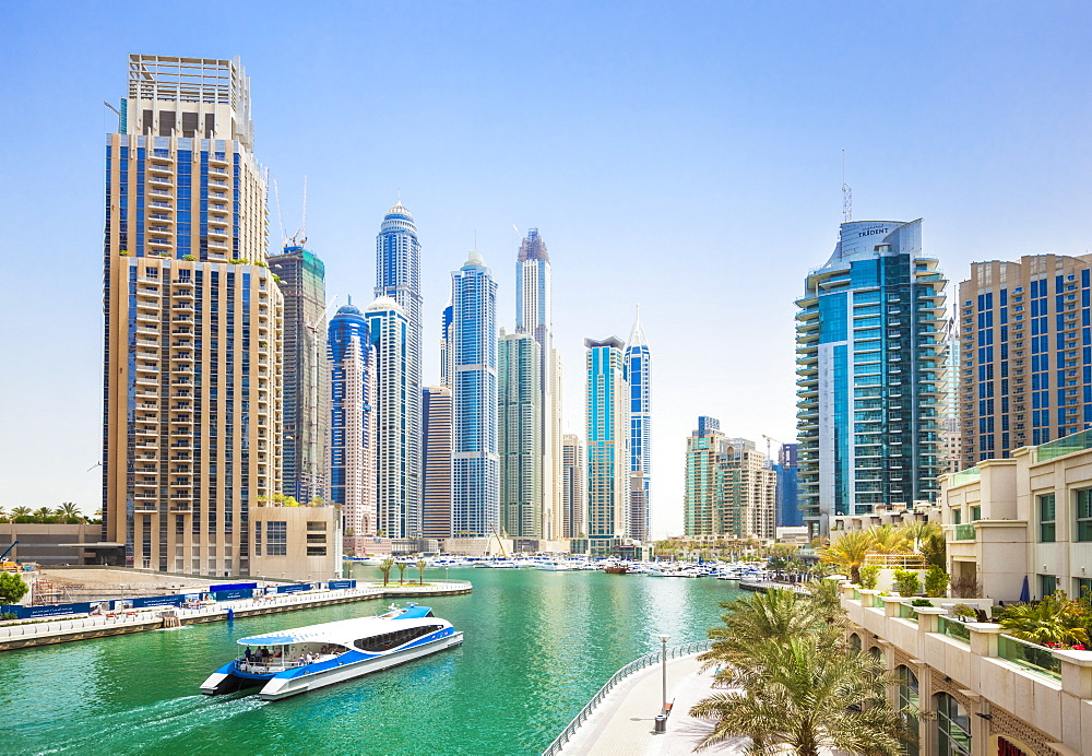 Dubai Marina skyline and harbour, Dubai City, United Arab Emirates, Middle East