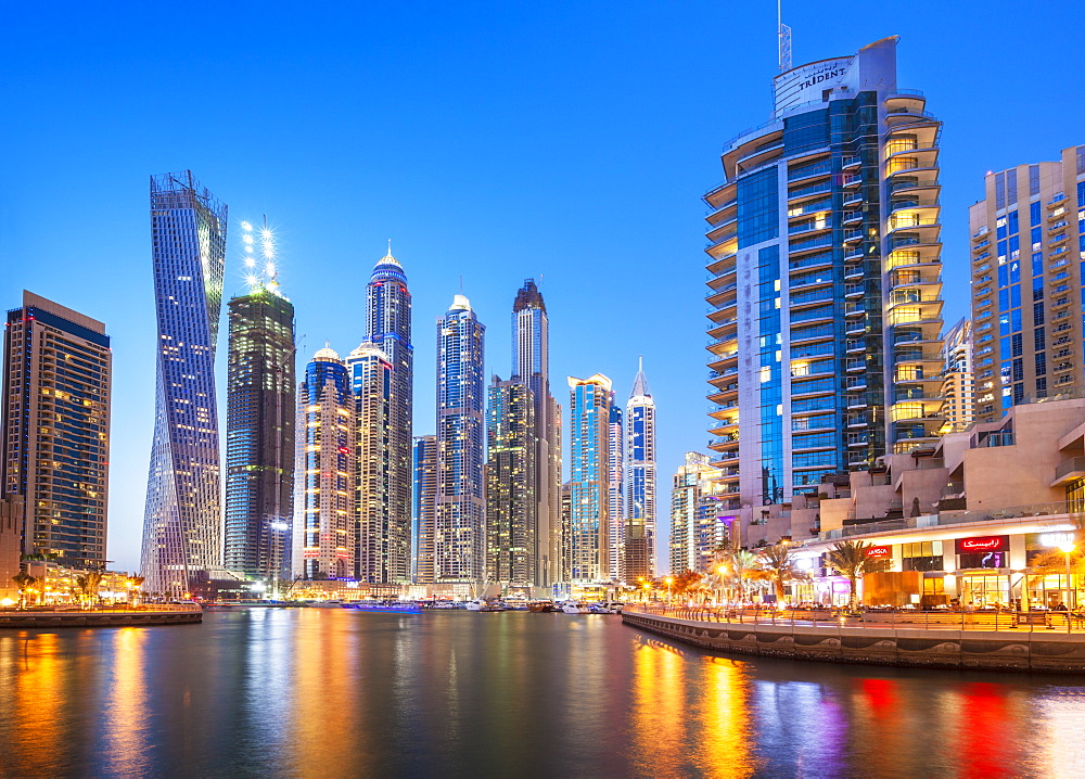 Dubai Marina skyline at night, Dubai City, United Arab Emirates, Middle East