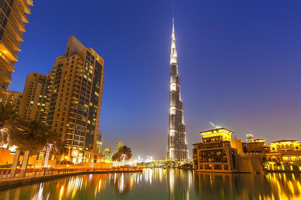 Dubai Burj Khalifa and skyscrapers at night, Dubai City, United Arab Emirates, Middle East